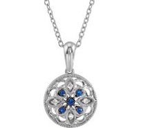 Spectacular .09ct 1.2-1.7mm Blue Sapphire and Diamond Accented Sterling Silver Medallion Pendant for SALE - FREE Chain With Pendant