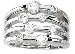 Spectacular 1.20 Total Carat Weight 2.50 mm Diamond Right Hand Ring set in 14 karat White or Yellow Gold
