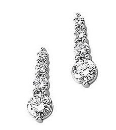 Spectacular 1 carat Journey Earrings with a Line of Diamonds Increasing in Size in 14k White Gold