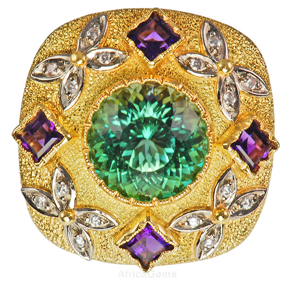 Spectacular Blue Green Tourmaline handmade Ring set with Amethyst And Diamonds - Amazing Goldwork - SOLD