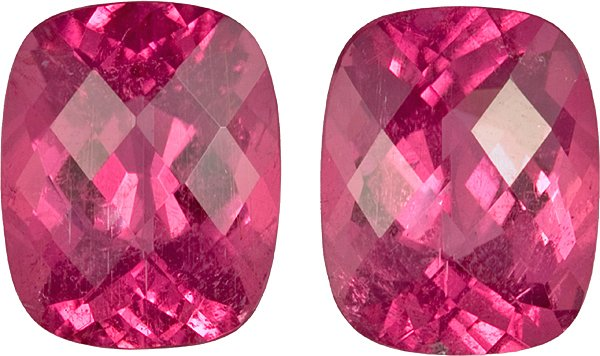 Spectacular Fine Color Cut in Pink Tourmaline Gemstone Pair in Antique Cushion Checkerboard Cut in 14.3 x 11.4 mm, 16.44 carats