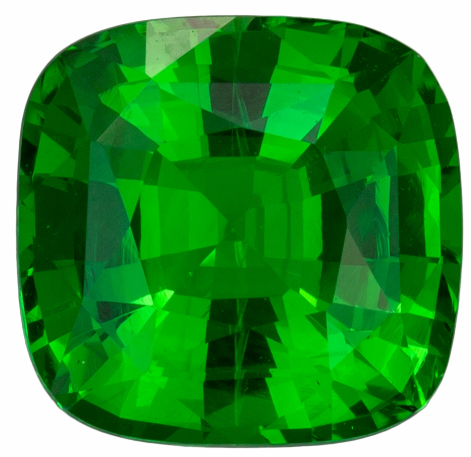 Spectacular Green Tsavorite Garnet 2.25 carats, Cushion shape gemstone, 7.8 x 7.5  mm