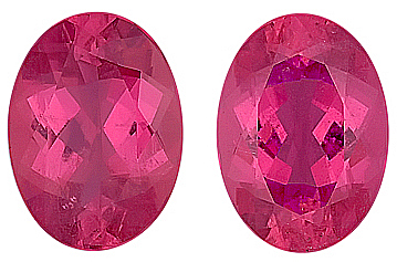Spectacular Matched Vibrant Pink Tourmalines for SALE,  Oval Cut, 14 x 10 mm, 11.31 carats