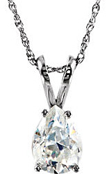 Spectacular Pear Shape Lab Created Moissanite Solitaire Pendant - Metal Type and Stone Size Options - FREE Chain Included With Pendant
