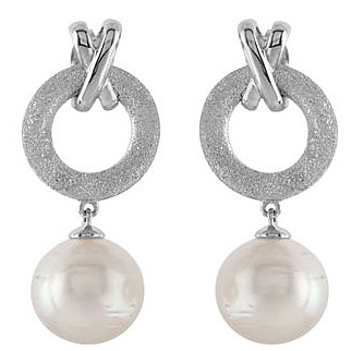 Spectacular X & O Motif Sterling Silver Post Back Dangle Earrings With 14.8ct 12mm Circle Paspaley South Sea Cultured Pearl - SOLD