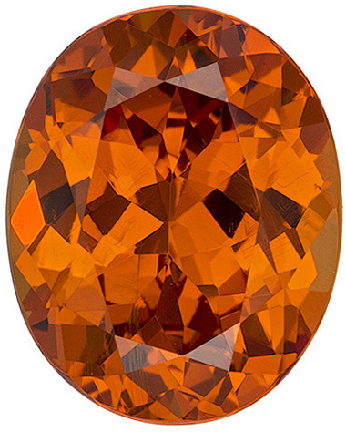 Spessartite Garnet Loose Gem in Oval Cut, Rich Orange, 9.5 x 7.6 mm, 3.15 carats