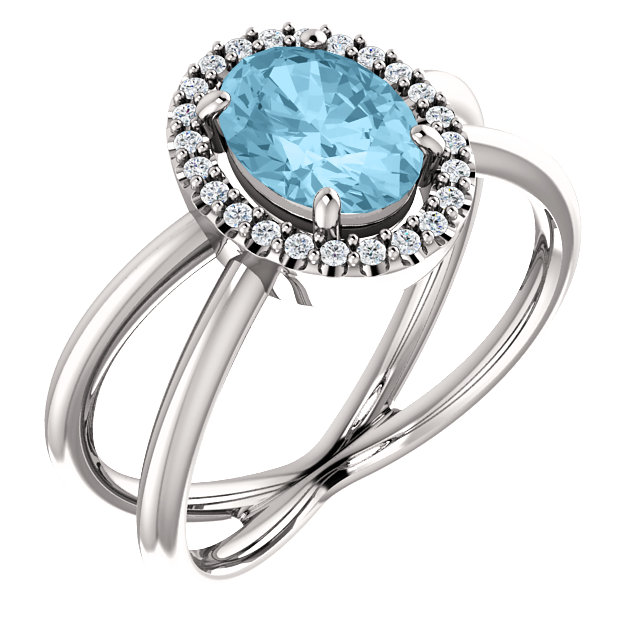 Gorgeous Platinum Aquamarine & 0.12 Carat Total Weight Diamond Ring