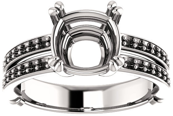 Split Shank Accented Ring Mounting for Cushion Shape Centergem Sized 5.00 mm to 8.00 mm - Customize Metal, Accents or Gem Type