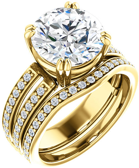 Split Shank Accented Ring Mounting for Round Shape Centergem Sized 5.20 mm to 10.00 mm - Customize Metal, Accents or Gem Type