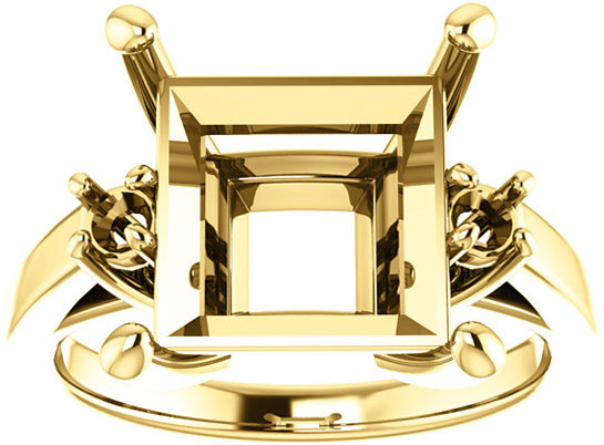 Square 3-Stone Ring Mounting for Shape Centergems Sized 4.00 mm to 10.00 mm, Round Side Gems - Customize Metal, Accents or Gem Type