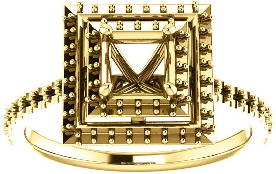 Square Double Halo Accented Engagement Ring Mounting for Shape Centergems Sized 4.00 mm to 7.00 mm - Customize Metal, Accents or Gem Type