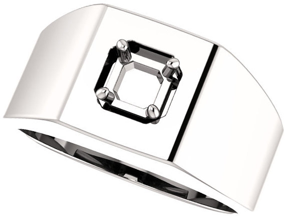 Square Face Solitaire Men's Ring Mounting for Asscher Gemstone Size 5mm to 7mm