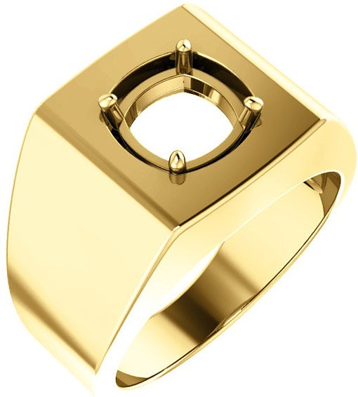 Square Face Solitaire Men's Ring Mounting for Cushion Shape Centergem Sized 5.00 mm to 8.00 mm - Customize Metal, Accents or Gem Type
