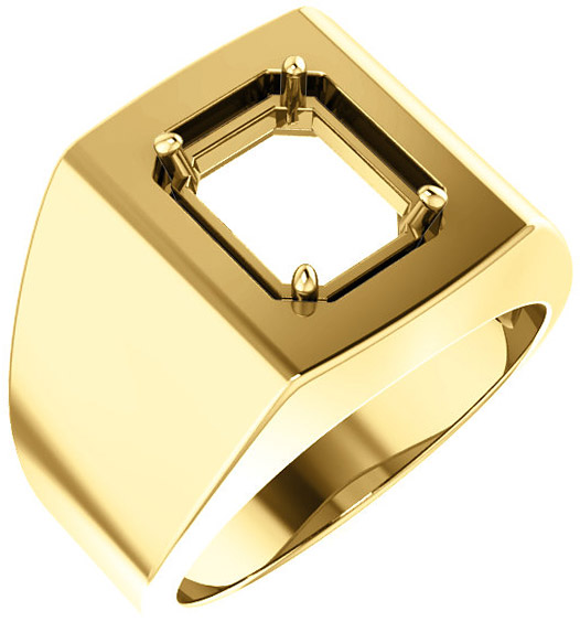 Square Face Solitaire Men's Ring Mounting for Emerald Shape Centergem Sized 6.00 x 4.00 mm to 10.00 x 8.00 mm - Customize Metal, Accents or Gem Type