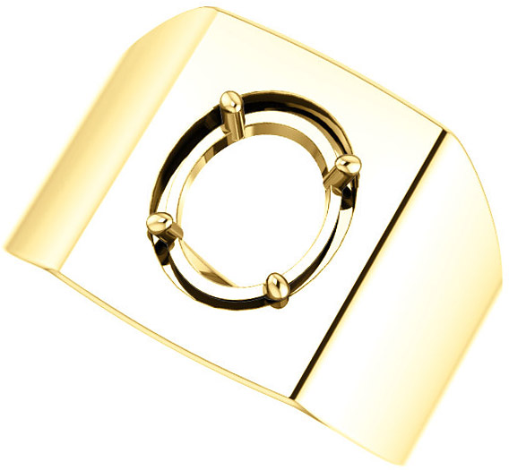 Square Face Solitaire Men's Ring Mounting for Oval Shape Centergem Sized 6.00 x 4.00 mm to 10.00 x 8.00 mm - Customize Metal, Accents or Gem Type