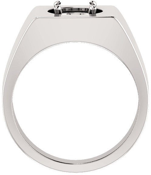 Square Face Solitaire Men's Ring Mounting for Round Gemstone Size 4.10mm to 8mm