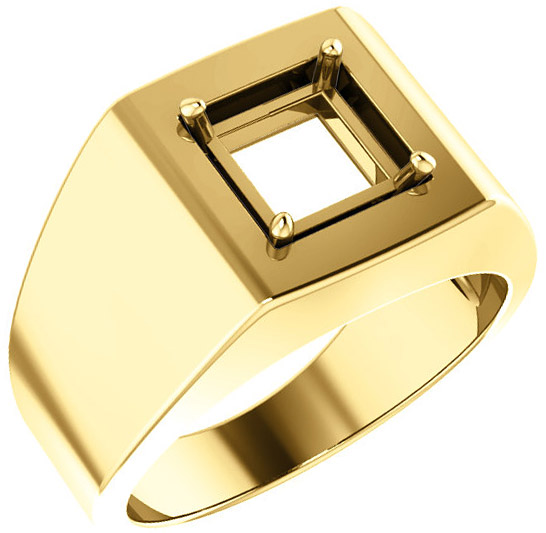 Square Face Solitaire Men's Ring Mounting for Square Gemstone Size 4mm to 7mm