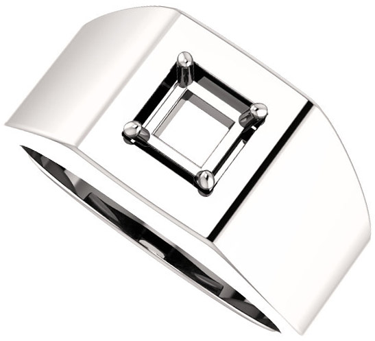 Square Face Solitaire Men's Ring Mounting for Square Shape Centergem Sized 4.00 mm to 7.00 mm - Customize Metal, Accents or Gem Type