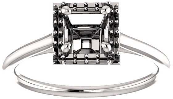 Square Halo Solitaire Engagement Ring Mounting for 4.00 mm to 10.00 mm Center - Customize Metal, Accents or Gem Type