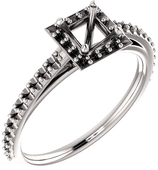 Square Halo Style Engagement Ring Mounting for 4mm  9mm Center