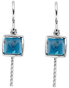 Square London Blue Topaz Dangle Earrings