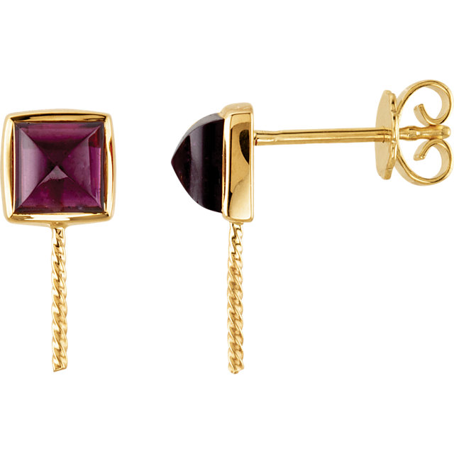 Square Rhodolite Garnet Semi Mount Earrings for Pearl