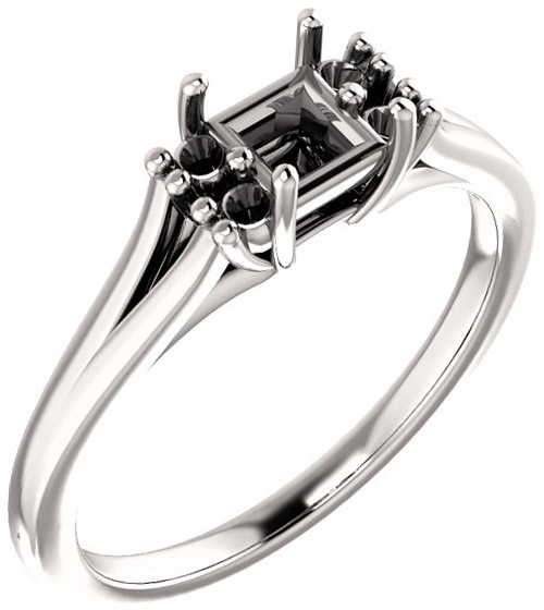 Square Ring Mounting With 4 Side Accents  Gemstone Size 4mm to 10mm