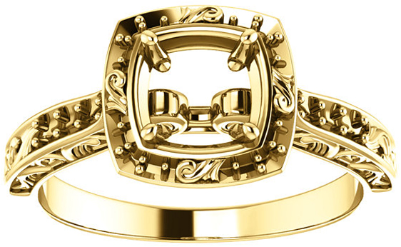 Square Sculptural Inspired Engagement Ring Mounting for 4mm  10mm Center