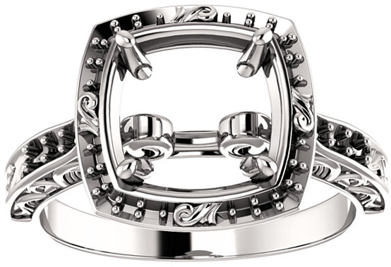 Square Sculptural Inspired Engagement Ring Mounting for 4.00 mm - 10.00 mm Center - Customize Metal, Accents or Gem Type