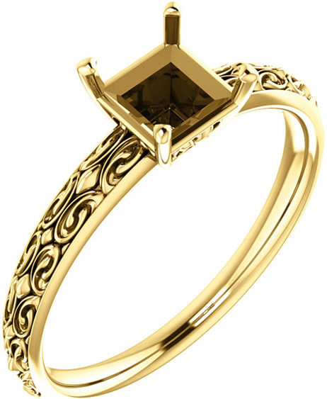 Square Sculptural Style Solitaire Ring Mounting for 5mm to 10mm Center