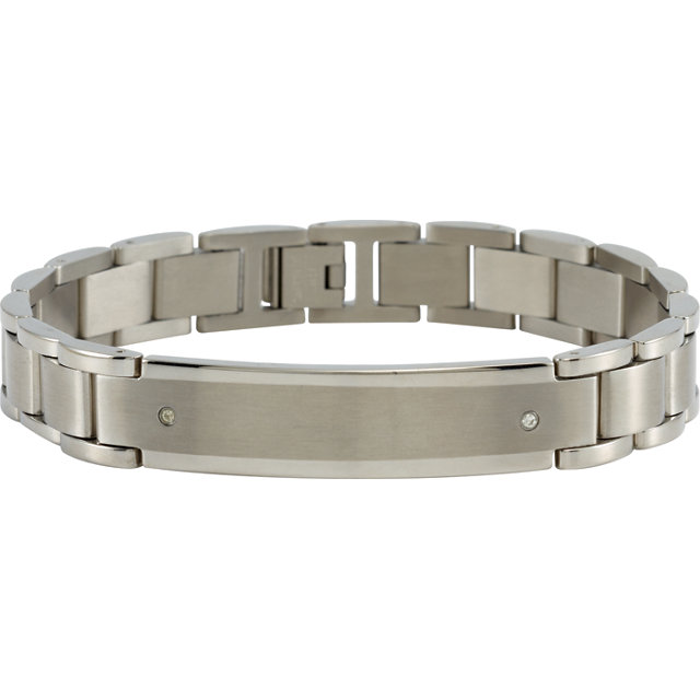 Stainless Steel Identity Bracelet with .04 Carat Total Weight