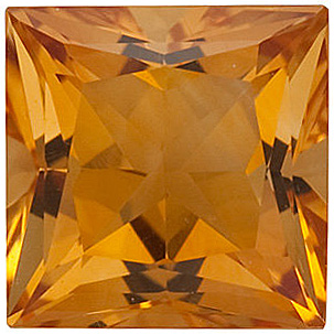 Fine Genuine Standard Size Princess Shape Citrine Gemstone Grade AA, 6.00 mm in Size, 1 carats