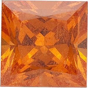 Standard Size Faceted Loose Princess Shape Spessartite Orange Garnet  Grade AAA 6.50 mm in Size