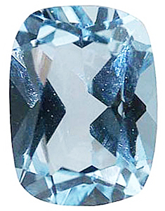 Standard Size Faux Blue Aquamarine Gemstone In Antique Cushion Shape Sized 9.00 x 7.00 mm