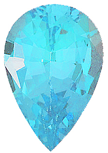 Standard Size Faux Blue Zircon Gemstone In Pear Shape Sized 12.00 x 8.00 mm