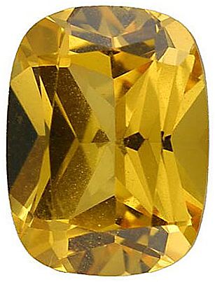 Standard Size Faux Golden Yellow Citrine Gemstone In Antique Cushion Shape Sized 10.00 x 8.00 mm