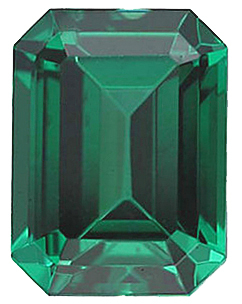 Standard Size Faux Green Emerald Gemstone In Emerald Shape Sized 6.00 x 4.00 mm