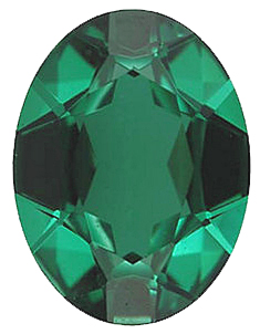 Standard Size Faux Green Emerald Gemstone In Oval Shape Sized 7.00 x 5.00 mm
