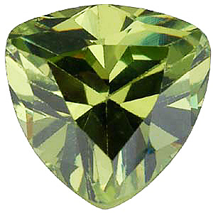 Standard Size Faux Green Peridot Gemstone In Trillion Shape Sized 4.00 mm