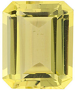 Standard Size Genuine Emerald Shape Lemon Quartz Gem Grade AA, 10.00 x 8.00 mm in Size, 2.9 Carats