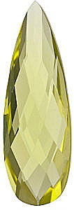 Standard Size Genuine Pear Shape Lemon Quartz Gemstone Grade AA, 24.00 x 8.00 mm in Size