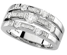 Stately 0.75 Carat Total Weight 2.6 - 3.9 mm Diamond Right Hand Ring set in 14 karat White Gold - SOLD