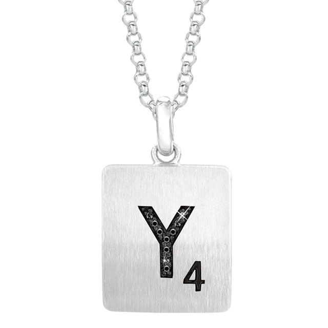 Sterling Silver .025 Carat Total Weight Black Diamond Letter