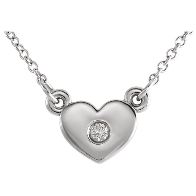 Sterling Silver .03 Carat Total Weight Diamond Heart 16