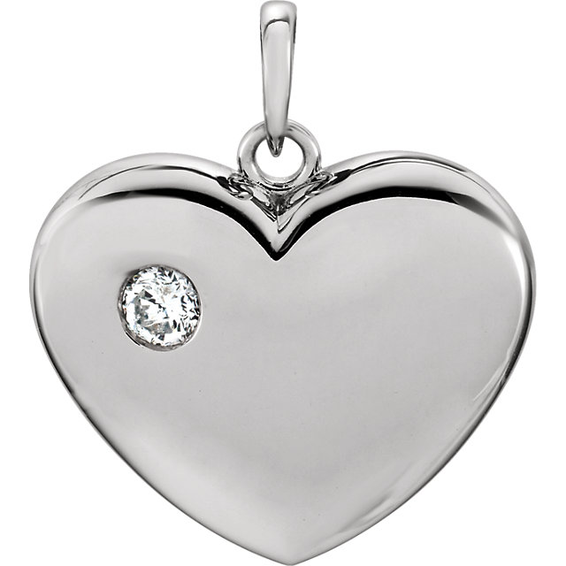 Sterling Silver .03 Carat Diamond Heart Pendant