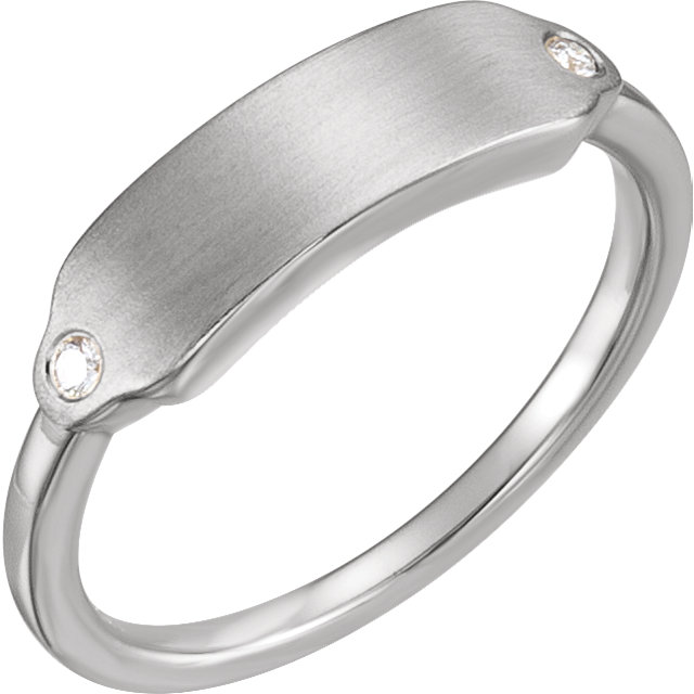 Beautiful Sterling Silver .03 Carat Total Weight Diamond Signet Ring