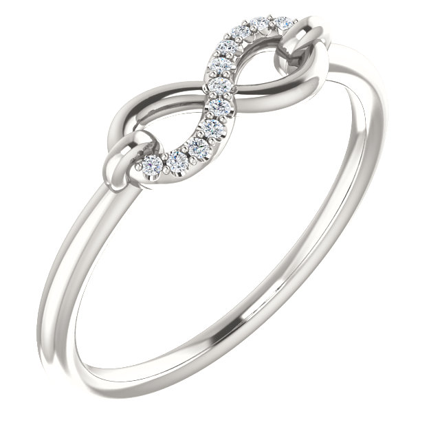 Stunning Sterling Silver .04 Carat Total Weight Diamond Infinity-Inspired Ring