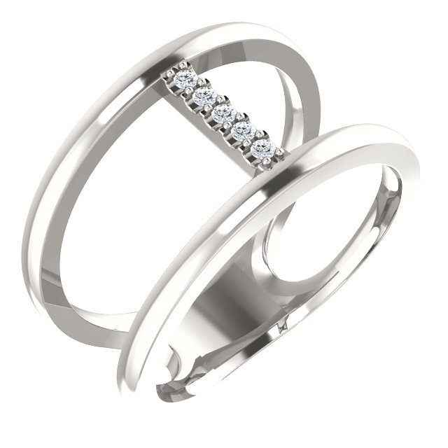 Low Price on Quality Sterling Silver .04 Carat TW Diamond Negative Space Ring