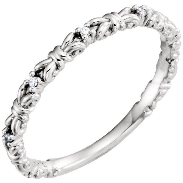 Perfect Gift Idea in Sterling Silver .04 Carat Total Weight Diamond Stackable Ring