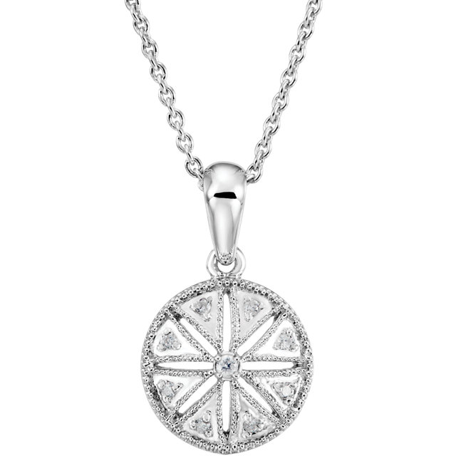 Contemporary Sterling Silver .05 Carat Total Weight Diamond 18